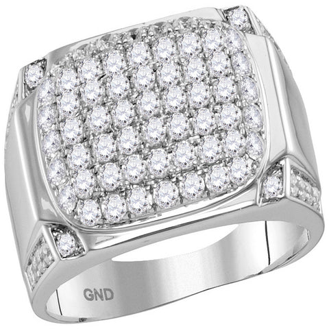 10kt White Gold Womens Round Diamond Rectangle Cluster Ring 2-1/10 Cttw