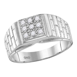 10kt White Gold Mens Round Diamond Square Cluster Brick Ring 1/4 Cttw