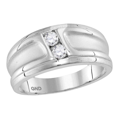 10kt White Gold Womens Round Diamond 2-stone Channel-set Wedding Band 1/3 Cttw