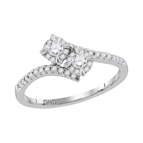 14kt White Gold Womens Round Diamond 2-stone Bridal Wedding Engagement Ring 1/3 Cttw