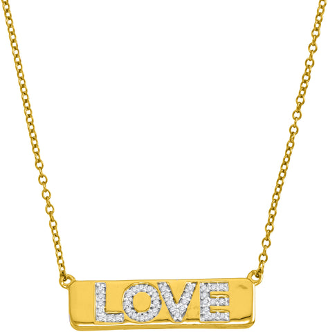 "10kt Yellow Gold Womens Round Diamond Love Bar Pendant Necklace with 18"" Chain 1/8 Cttw"