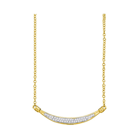 10kt Yellow Gold Womens Round Diamond Curved Bar Pendant Necklace 1/6 Cttw