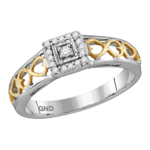 10kt Two-tone Gold Womens Round Diamond Solitaire Bridal Wedding Engagement Ring 1/10 Cttw