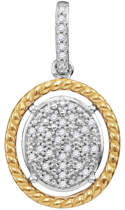 10kt Two-tone Gold Womens Diamond Oval Cluster Yellow-tone Rope Frame Pendant 1/12 Cttw