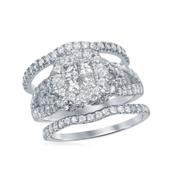 10kt White Gold Womens Princess Round Diamond Soleil Bridal Wedding Engagement Ring Band Set 2.00 Cttw