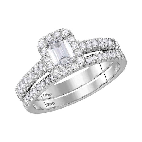 14K White Gold Bridal Baguette Diamond Wedding Engagement Ring Set 1 CT