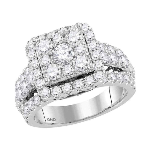 Bridal 14K White Gold Cushion Cluster Real Diamond Engagement Wedding Ring 3 CT
