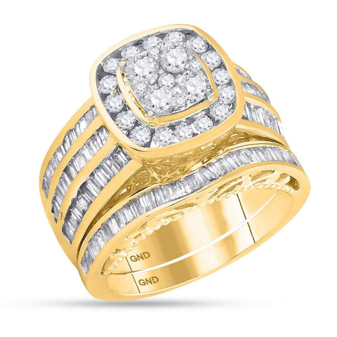 14K Yellow Gold Halo Cushion Real Diamond Baguette Engagement Ring Set 1 3/4 CT