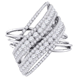 10K White Gold Ladies Criss Cross X Real Diamond Fashion Cocktail Ring 2 1/2 CT