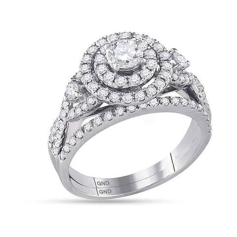14K White Gold Bridal Halo Cluster Infinity Love Real Diamond Engagement Ring Set 1.5 CT