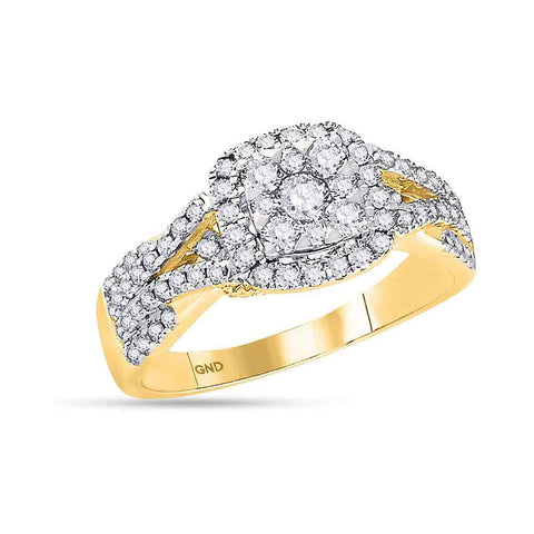 14K Yellow Gold Ladies Halo Bridal Real Diamond Engagement Wedding Ring 1 CT
