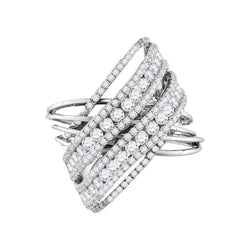 14K White Gold Ladies Criss Cross X Real Diamond Fashion Cocktail Ring 2 1/2 CT