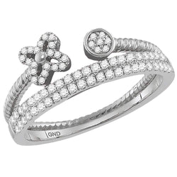 Ladies 10K White Gold Flower 2 Row Diamond Stackable Contour Engagement Fashion Ring 1/3 CTW