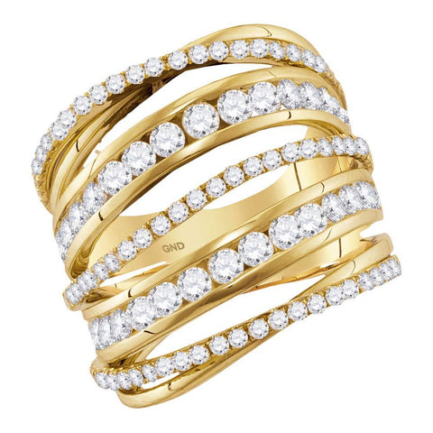Ladies 14K Yellow Gold Real Diamond Spiral Fashion Cocktail Ring 2 1/2 CT
