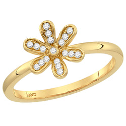 Ladies 10K Yellow Gold Flower Diamond Stackable Enhancer Ring 1/8 CTW