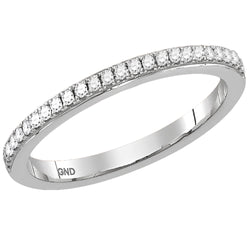 Ladies 10K White Gold 1 Row Stackable Contour Enhancer Engagement Wedding Ring Band 1/8 CTW