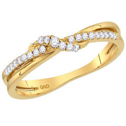 Ladies 10K Yellow Gold Diamond Stackable Enhancer Contour Wedding Engagement Ring 1/6 CTW