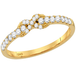 Ladies 10K Yellow Gold 1 Row Love Infinity Knot Diamond Engagement Stackable Contour Ring Band 1/4CTW