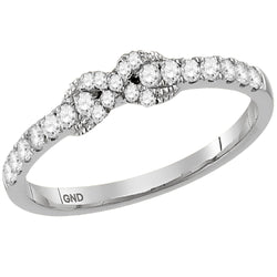 Ladies 10K White Gold 1 Row Love Infinity Knot Diamond Engagement Stackable Contour Ring Band 1/4CTW