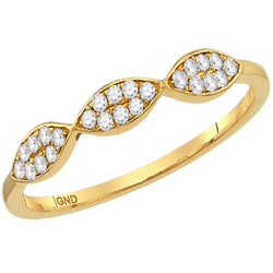 Ladies 10K Yellow Gold Marquise Stackable Diamond Enhancer Ring 1/12 CTW