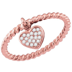 Ladies 10K Rose Gold Love Heart Rope Stackable Enhancer Ring Band 1/10 CT