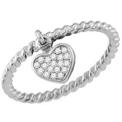 Ladies 10K White Gold Love Heart Rope Stackable Enhancer Ring Band 1/10 CT