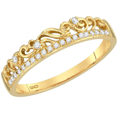 Ladies 10K Yellow Gold Floral Diamond Stackable Enhancer Contour Fashion Ring 1/12 CTW