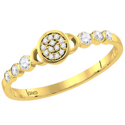 Ladies 10K Yellow Gold Flower Cluster Stackable Ring 1/6 CT