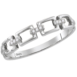 10K White Gold Chain Link Diamond Stackable Rings .03 CTW