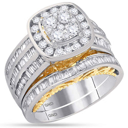14K Gold Two Tone Halo Cushion Real Diamond Baguette Engagement Ring Set 1 3/4 CT