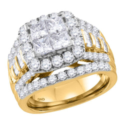 Bridal 14K Yellow Gold Princess 4 Prong Halo Cushion Diamond Engagement Ring 3 CT