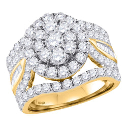 Bridal 14K Yellow Gold Ladies Flower Cluster Real Diamond Engagement Wedding XL Ring 3 CT
