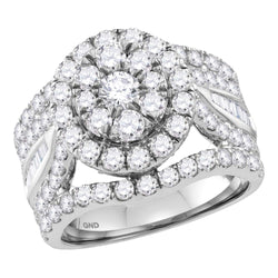 Bridal 14K White Gold Flower Cluster Real Diamond Engagement Wedding Ring 3 CT