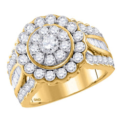 Bridal 14K Yellow Gold Flower Cluster Halo Real Diamond Engagement Wedding Ring 3 CT
