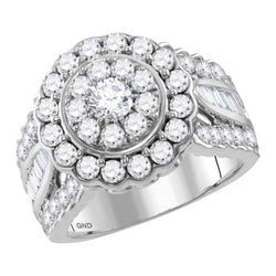 Bridal 14K White Gold Flower Cluster Halo Real Diamond Engagement Wedding Ring 3 CT