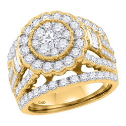 14K Yellow Gold Flower Cluster Halo Princess Baguette Real Diamond Engagement Bridal Ring 3 CT
