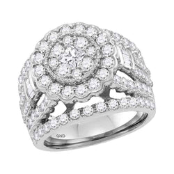 14K White Gold Flower Cluster Halo Princess Baguette Real Diamond Engagement Bridal Ring 3 CT