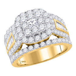Ladies 14K Yellow Gold Princess Flower Cluster Diamond Engagement Wedding Ring 3 CT
