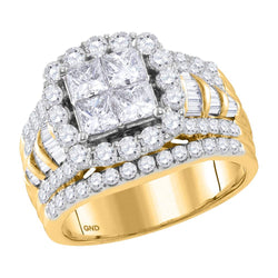 Bridal 14K Yellow Gold Princess Invisible Real Halo Cushion Diamond Engagement Ring 3CT