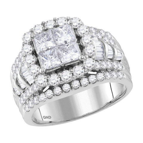 Bridal 14K White Gold Princess Invisible Real Halo Cushion Diamond Engagement Ring 3 CT