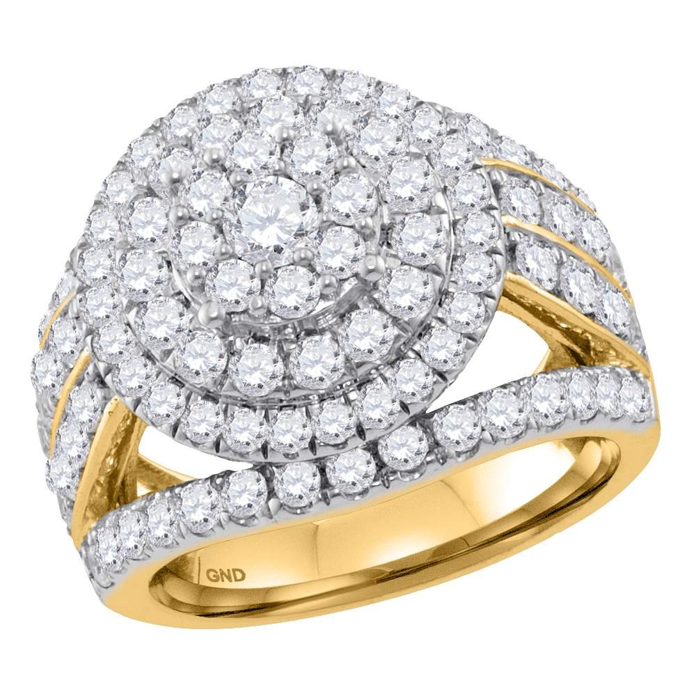 14K Yellow Gold Flower Cluster Real Diamond Engagement Ring 3CT