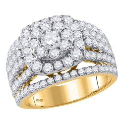 14K Yellow Gold Ladies Bridal Cushion Flower Cluster Diamond Engagement Ring 3 CT