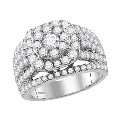 14K White Gold Ladies Bridal Cushion Flower Cluster Diamond Engagement Ring 3 CT