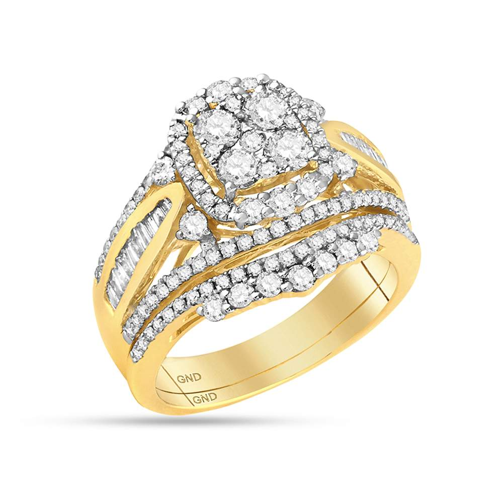 14K Yellow Gold Cushion Cluster Baguette Real Diamond Engagement Ring Set 1.5 CT
