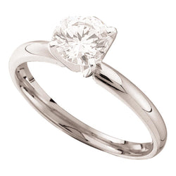 14kt White Gold Womens Round Diamond Solitaire Bridal Wedding Engagement Ring 3/4 Cttw