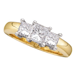 14kt Yellow Gold Womens Princess Diamond 3-stone Bridal Wedding Engagement Ring 1.00 Cttw