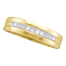 Mens 14K Yellow Gold 1 Row Princess Diamond Wedding Engagement Ring Band 1/2 CT