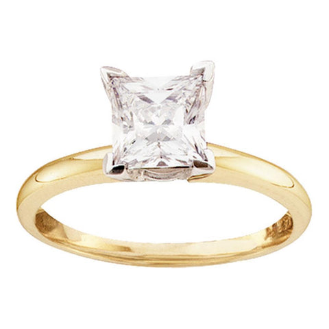 14kt Yellow Gold Womens Princess Diamond Solitaire I2 JK Wedding Engagement Ring 1/4 Cttw