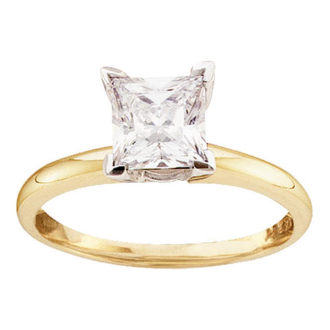 14kt Yellow Gold Womens Princess Diamond Solitaire Certified Bridal Wedding Engagement Ring 1.00 Cttw