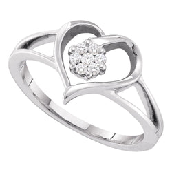 10kt White Gold Womens Round Diamond Heart Flower Cluster Ring 1/12 Cttw